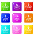 Jewelry luxury icons set 9 color collection