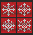 knitted christmas snowflakes set in various shapes vector image