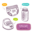line art icon set with baby products for hygiene vector image