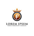 luxury letter p with crown logo design concept vector image vector image