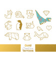 metallic temporary tattoos gold silver origami vector image vector image