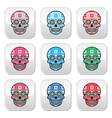 Mexican sugar skull buttons with winter Nordic pat vector image vector image