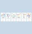 mobile app onboarding screens office supplies vector image
