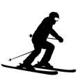 mountain skier speeding down slope sport vector image