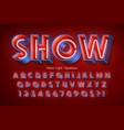 neon light 3d alphabet extra glowing font vector image vector image