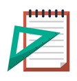 notes with triangle ruler vector image vector image