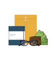 office supplies and manila envelope vector image
