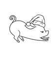 outline of the stretching piglet with a hat vector image vector image