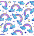 pattern with cloudsrainbows and stars vector image vector image
