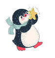 penguin with a star vector image vector image