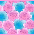 pink and blue rose simplify flowers botanical vector image