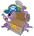 pirate octopus with chest vector image vector image