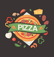 pizza house with ingredients banner poster vector image