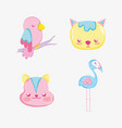 punchy pastel cute animals cartoons vector image