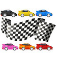 Racing cars and racing flag vector image vector image