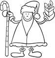santa claus cartoon coloring page vector image vector image