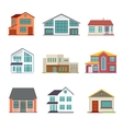 set cottage building flat icons vector image