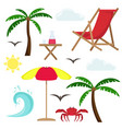 set of beach vacation at sea isolated vector image