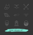 set of feast icons line style symbols with vector image