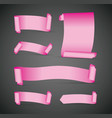 set of pink banners vector image vector image
