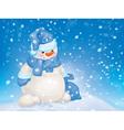 snowman snowfall blue vector image vector image