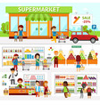 supermarket infographic elements flat vector image