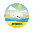 surfers on the waves on a summer beach vector image