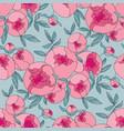 tender line peony flower seamless pattern vector image vector image