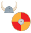 Viking hat and shield vector image vector image