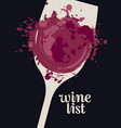 wine list with glass wine spots and splashes vector image vector image