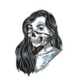 woman in scary skull mask vector image vector image