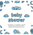 Baby shower template with cute sleeping fox vector image