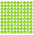 100 world icons set green circle vector image vector image