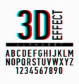 3d effect alphabet and numbers vector image vector image