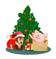 a puppy a bag gifts and pig jumping out of an vector image vector image