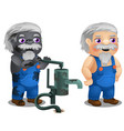animated male workman with coverall and broken vector image