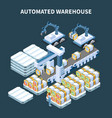 automatic warehouse isometric composition vector image vector image