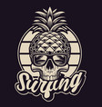 black and white with pineapple skull in vintage vector image vector image