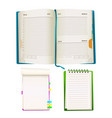 cartoon notepad and notebooks set vector image vector image