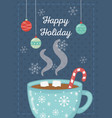 chocolate cup with marshmallow candy cane happy vector image