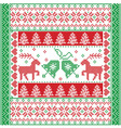 Christmas tile style withe reindeer and bells in vector image