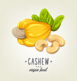 colourful cashew icon isolated on background vector image vector image
