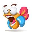 crazy funne cute cartoon fish vector image vector image