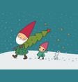 cute cartoon gnomes christmas elves grandfather vector image vector image