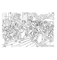 dancing sequences of human vintage engraving vector image vector image