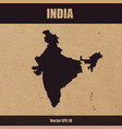 detailed map of india on craft paper vector image