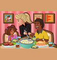 family eating dinner together vector image vector image