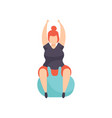 fat girl exercising on a fitbal obesity woman vector image vector image