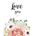 floral greeting design card with flower bouquet vector image vector image