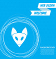 fox icon on a blue background with abstract vector image